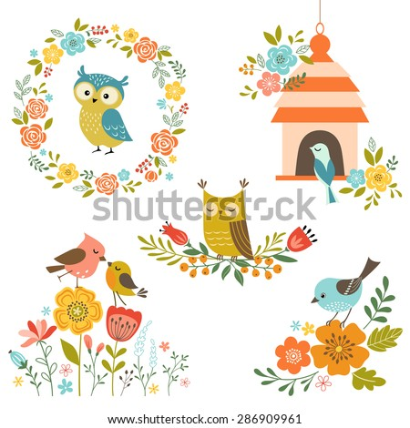 Set of design elements with flowers and birds.