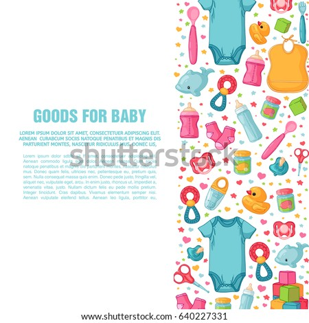 Set of design templates for vertical banners with childhood's patterns. Newborn staff for decorating flyers. Clothes, toys, accessories for babies. Square poster with infant item. Vector.