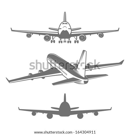 Set of designed airplanes illustrations - stock vector