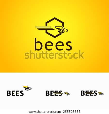 Set of Designed word Bees with and bee - stock vector