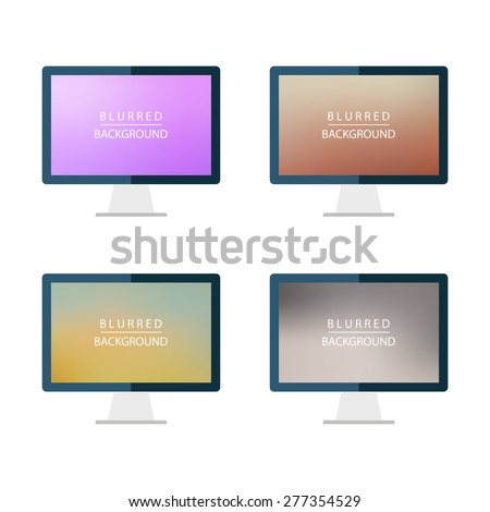 Set of desktop computer blurred backgrounds. Abstract vector illustrations.