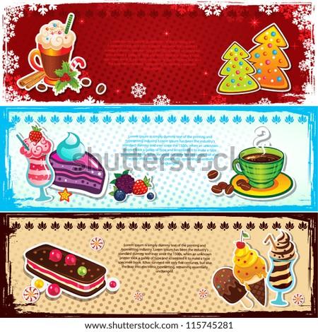 Set of dessert bookmarks - stock vector