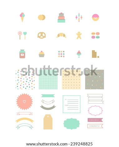 Set of dessert icons, seamless patterns and decor elements. - stock vector
