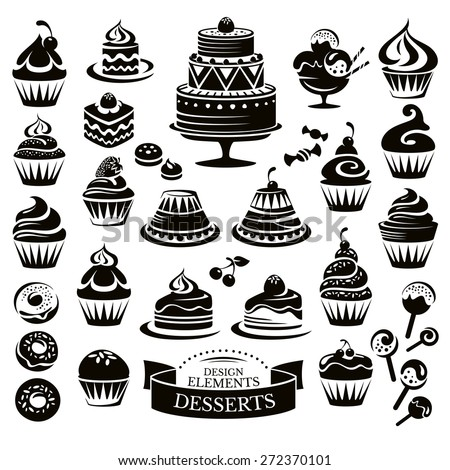 Set of desserts design elements vector illustration - stock vector