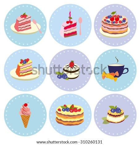 Set of desserts Sweets, pastry, chocolate, cake, cupcake, ice cream, Dessert vector illustration of different cakes, dessert of pastries. Dessert cake vector color collection.