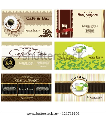 Set of 6 detailed business cards for cafe and restaurant - stock vector