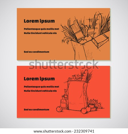 Set of 2 detailed business cards with  bag of groceries sketch. For cafe and restaurant, supermarket and store - stock vector