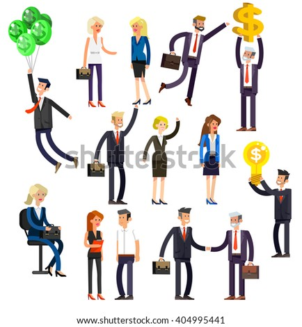 Set of detailed characters people, men and women in action. Shake hands, with a briefcase, secretary, big boss, startup man, colleagues, business lifestyle isolated on white background. - stock vector