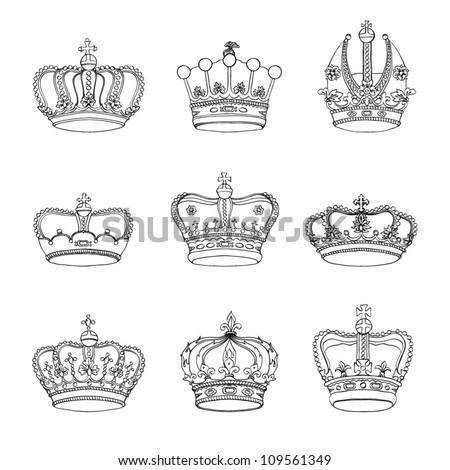 Set of 9 detailed crowns isolated on white background - stock vector