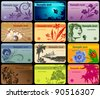 Set of 12 detailed horizontal business cards in different styles - stock vector