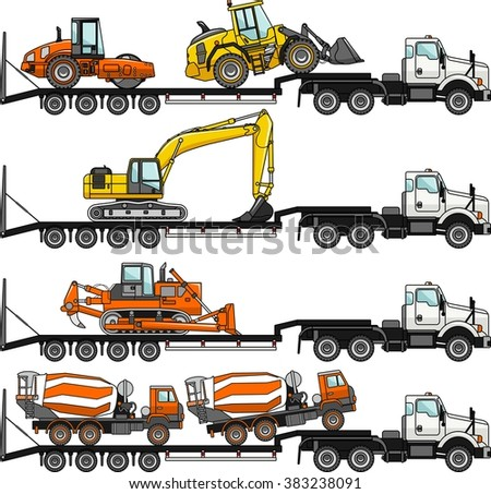 Set of detailed illustration of car auto transporter and concrete mixer, bulldozer, excavator, wheel loader, compactor isolated on white background in flat style in different positions.