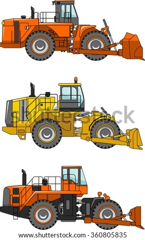 Set of detailed illustrations of wheel dozers isolated on transparent background. Heavy construction machines, equipment and machinery. Vector illustration.