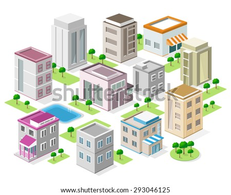 Set of detailed isometric buildings. 3d graphic colorful city with trees and swimming pool. Isolated vector illustration.