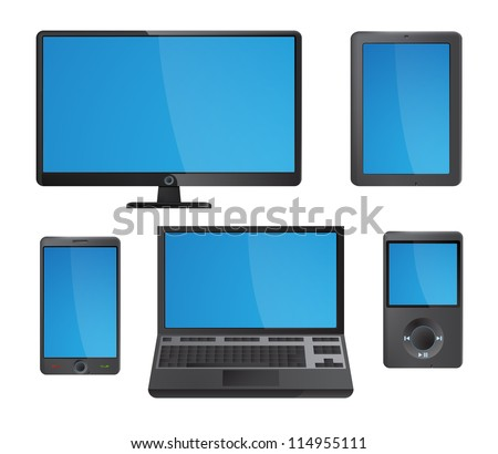 Set of detailed modern electronic media device icons with blue screens. EPS10 vector. - stock vector