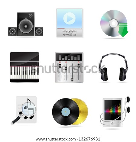 set of detailed musical icons - stock vector