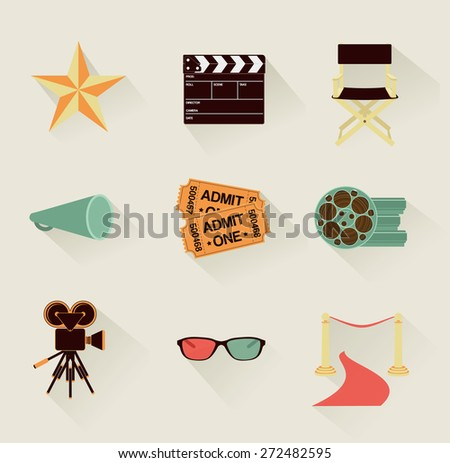set of detailed retro flat cinema icons - stock vector