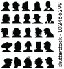Set of detailed  silhouettes of heads,vector - stock photo