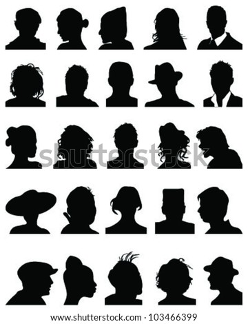 Set of detailed  silhouettes of heads,vector - stock vector