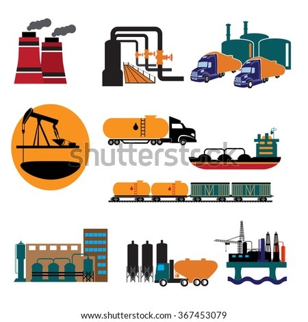 Set of detailed silhouettes of oil industry objects. - stock vector
