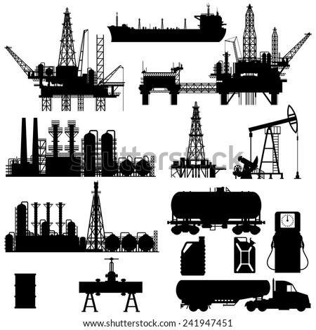 Set of detailed silhouettes of oil industry objects, EPS 8 - stock vector
