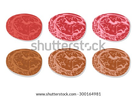 Set of detailed slide fresh ham and grilled salami with line fat texture in flat icon style. Isolated on white background. vector illustration. - stock vector