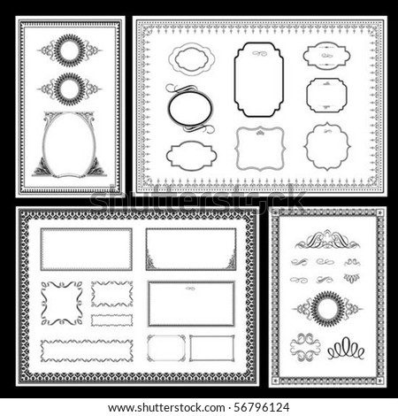 Set of detailed vector frames. Easy to edit. - stock vector