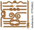 Set of detailed vector rugged rope borders with knots, wave, spirals etc, SIMILAR IMAGES SEE AT MY GALLERY - stock photo