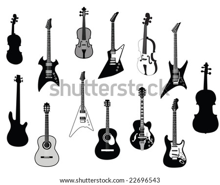 Set of detailed vector silhouettes different guitars - stock vector