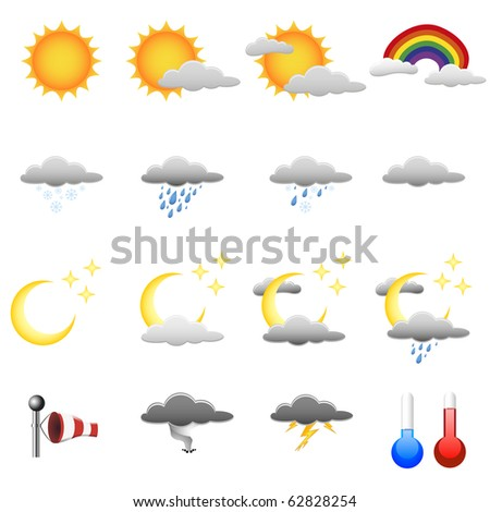 set of detailed weather symbols - stock vector