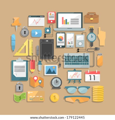 set of devices. infographic - stock vector