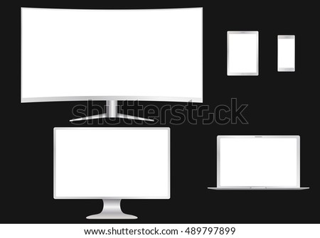 Set of devices. PC, cell phone, tablet and laptop. Collection for design presentations. Vector illustration.