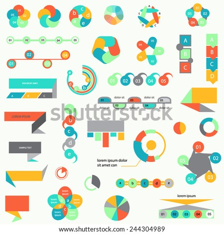 Set of diagrams, templates, infographic elements
