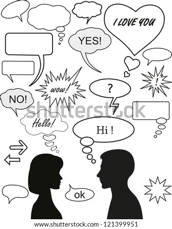 Set of dialog bubbles and two silhouettes - stock vector