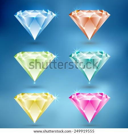 Set of Diamond icon  - stock vector