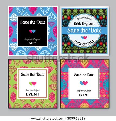 Set of diamond Save the Date for events design - stock vector