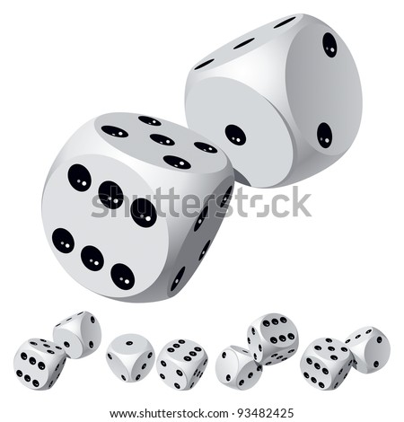 Set of Dice Rolls. Vector Illustration - stock vector
