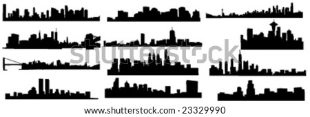 set of 12 diferens skylines of new york, boston and pfiladelphia chicago and seatle - stock vector