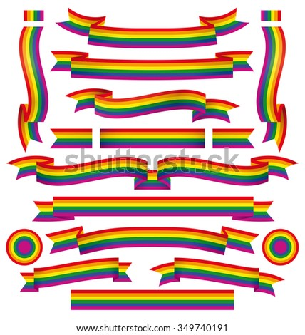 Set of diferent gay ribbons pride with correct color scheme. - stock vector