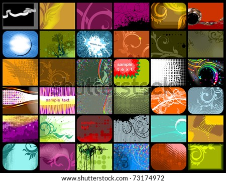 set of 36 different abstract backgrounds, vector - stock vector