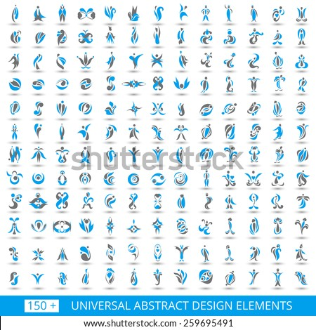 Set of different abstract flat blue elements for design logo. Vector illustration eps 10 - stock vector