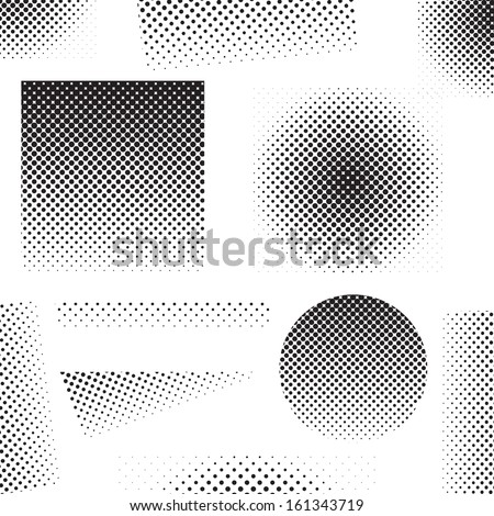 Set of different abstract halftone art elements (vector illustration) - stock vector
