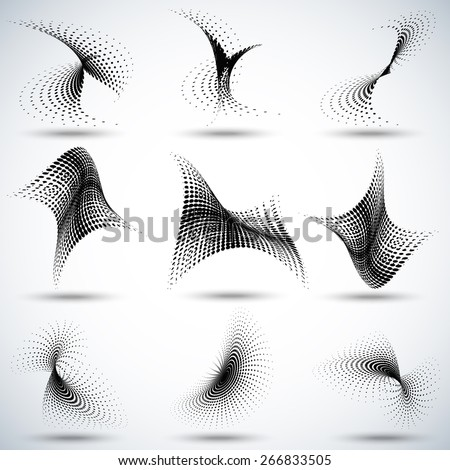 Set of different abstract halftone dots pattern vector illustration... - stock vector