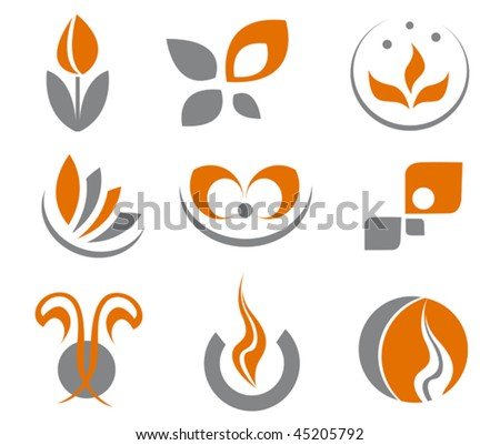 Set of different abstract symbols for design, also a logo idea. Jpeg version is also available - stock vector
