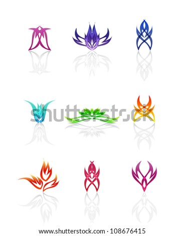 Set of different abstract symbols for design, such a logo. Jpeg version is also available - stock vector