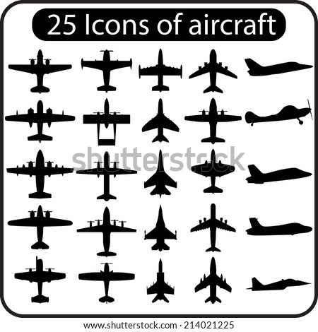 Set of different airplane icons. Vector image. - stock vector
