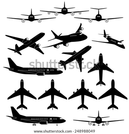 Set of different airplane signs
