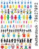Set of different and colored children silhouettes - stock vector
