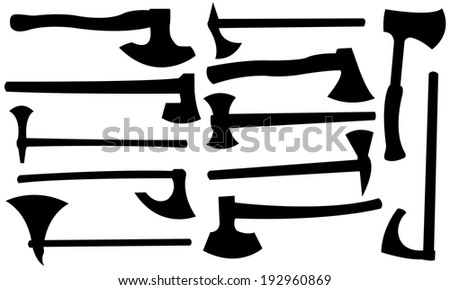 set of different axes isolated - stock vector