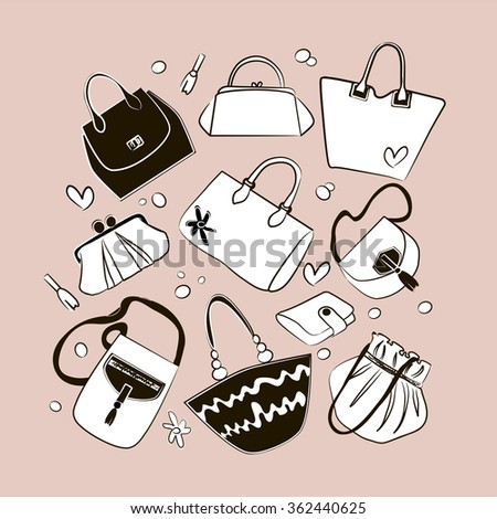 Set of different bags, clutches, purses handbags. Elegant luxury women acessories. Fashion vector illustration.  - stock vector