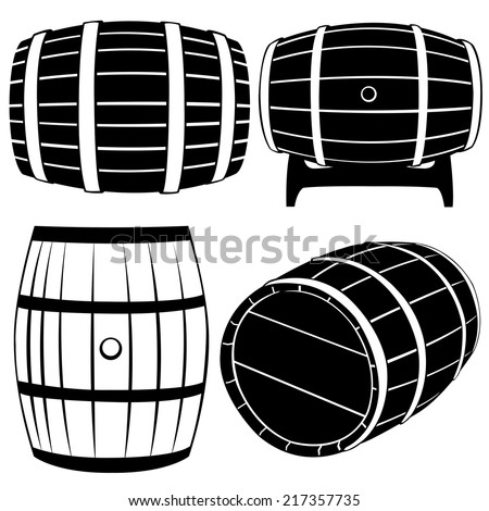 set of different barrels isolated - stock vector